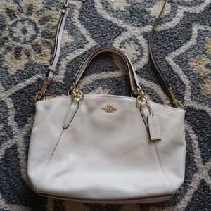 Coach Small Kelsey Chalk White Leather Satchel